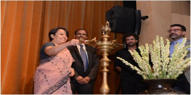 Inauguration of the 4th International Folk Dance and Music Festival on 9th October 2017 at 6.30 pm at Kamani Auditorium.  Lighting of Lamp by Smt. Ri