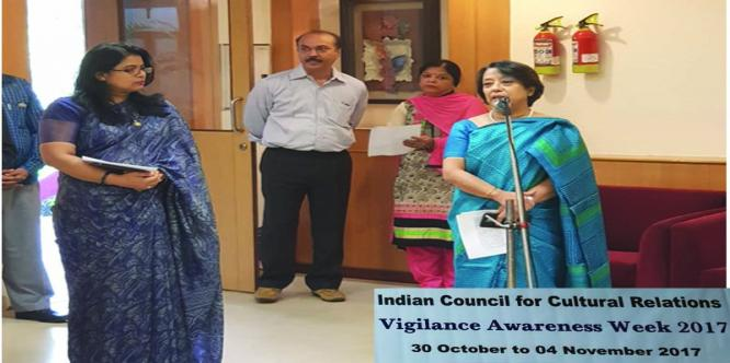 ICCR is celebrating Vigilance Awareness Week (30th Oct-04th Nov)2017. The pledge on Vigilance Awareness was administrated by Smt. Riva Ganguly Das, D