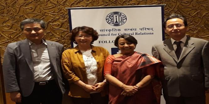 Mrs. Riva Ganguly Das, (D.G. ICCR) meeting with H.E Shin Bongkil, Ambassador of South Korea, Prof. Jong Chan Choi, Department of Hindi, Hankuk Univ