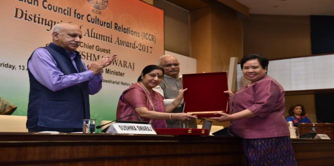 Awards being presented to our distinguished Alumni by Smt. SushmaSwaraj ji and other guests at the ceremony