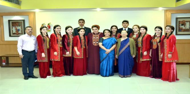 Smt. Riva Ganguly Das, Director General, ICCR meeting with Hindi Students & teacher from Turkmenistan at Azad Bhavan, New Delhi.