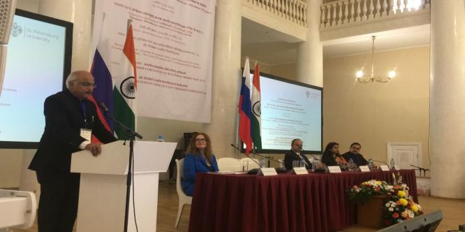 Dr. Vinay Sahasrabuddhe President, ICCR  delivering Inaugural Address of the Third International Conference of Indologists, St. Petersburg State Univ