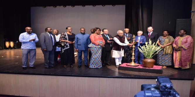 Inauguration of the Africa Festival by Dr. Vinay Sahasrabuddhe, President, ICCR and Heads of African Missions on 24th May 2018 at Kamani Auditorium,
