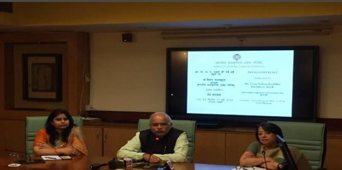 Press Conference being addressed by Dr. Vinay Sahasrabuddhe , President ICCR, introducing new initiatives by ICCR # World  Culture Day #